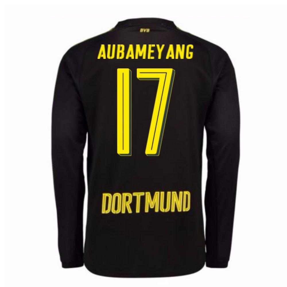2017-18 Borussia Dortmund Away Long Sleeve Shirt (Aubameyang 17) B077PRR625Black XL Adults