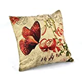 """Createforlife Home Decor Cotton Linen Square Throw Pillowcase Cushion Cover Pillow Shams Red Butterfly Kiss Flowers 18"""" x 18"""""""