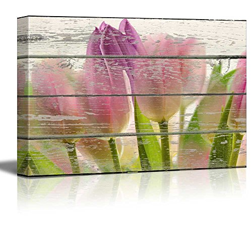 Pink Purple and Green Tulips Floral Artwork Rustic