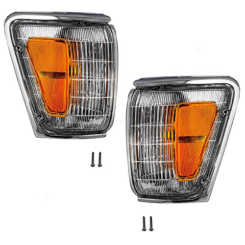 Driver and Passenger Park Clearance Lights Lamps with ChromeTrim Replacement for Toyota Pickup Truck SUV 8162089179 8161089179