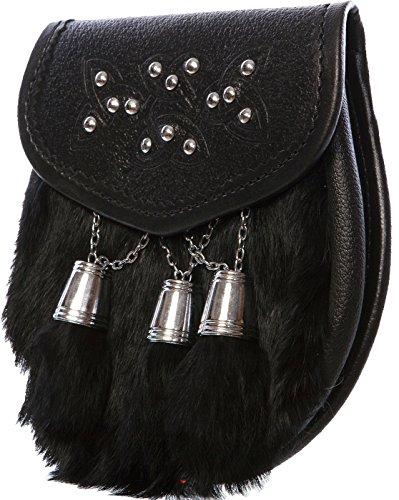 Half Sporran Celtic Design with Engraved Tassels Rabbit Fur Black