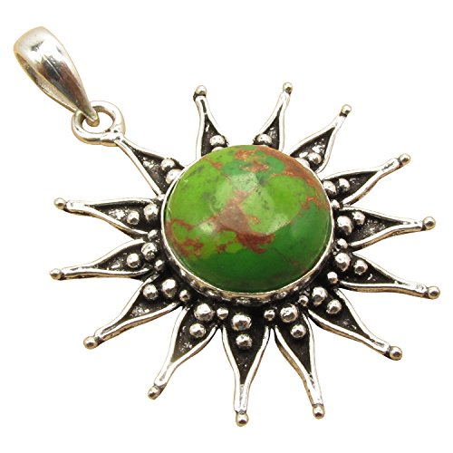 925 Sterling Silver Plated Real GREEN COPPER TURQUOISE Birthday Present SUN Pendant Made In India