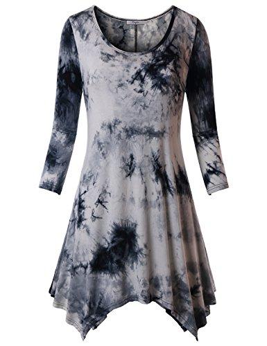 Cestyle Plus Size Tunic, Women's 3/4 Sleeve Round Neck Casual Handkerchief Hem Plus Size Ruffle Tie Dye Tops T Shirt Medium Black