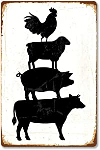 Modern Vintage Metal Tin Signs Farm Animals Stacked Cattle Sheep Pig Chicken ! Wall Plaque Poster Cafe Bar Pub Beer Club Wall Home Decor 8x12 inches