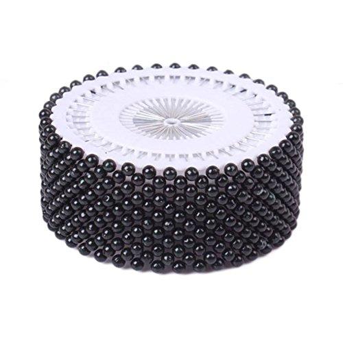 La Tartelette Decorative Round Pearl Straight Head Pins, 1.5 inch - 480 Pcs (Black)