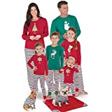 PajamaGram Matching Family Christmas Pajamas - Personalized, Red/Green, Men's, L