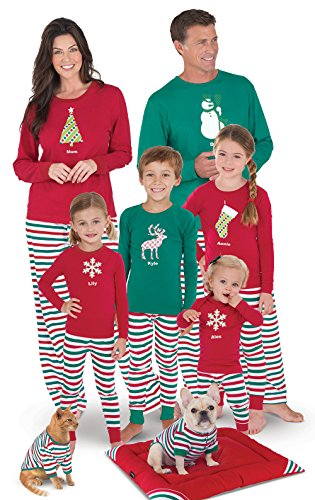 PajamaGram Matching Family Christmas Pajamas - Personalized, Red/Green,