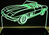 ValleyDesignsND 1967 Corvette Convertible Acrylic Lighted Edge Lit 12'' Reflective Black Mirror Base 15 LED Sign Light Up Plaque 67 VVD1 Made in the USA