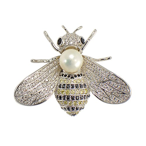 Brooch Cultured Pearl Gold (Paialco 8-9MM Cultured Freshwater Pearl Cubic Zirconia Delicate Bee Brooch Pin, White Gold Tone)