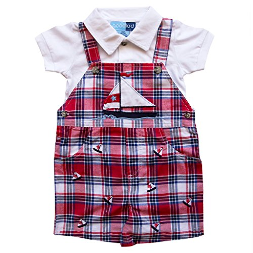 - Good Lad Newborn/Infant Boys Red and Navy Plaid Shortall Set with Natucial Applique and Embroideries (6/9M)