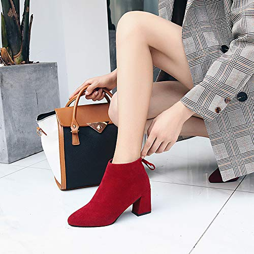 Burgundy US5.5   EU36   UK3.5   CN35 Burgundy US5.5   EU36   UK3.5   CN35 Women's Combat Boots Synthetics Fall & Winter Casual Boots Chunky Heel Pointed Toe Booties Ankle Boots Black Brown   Burgundy