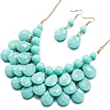 BEMI Classical Floating Bubble Necklace Teardrop Bib Collar Statement Jewelry Set Necklace and Earring Light Blue