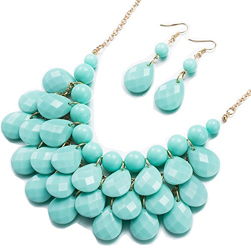 BEMI Classical Floating Bubble Necklace Teardrop Bib Collar Statement Jewelry Set Necklace and Earring Light Blue by BEMI