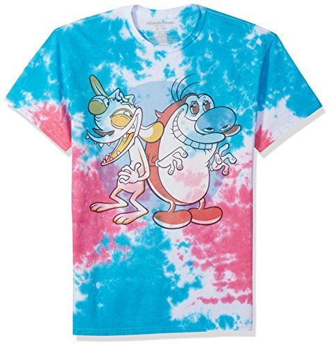 Nickelodeon Men's Ren and Stimpy Short Sleeve Graphic T-Shirt, Red and Stimpy Tie Dye, S (Dye S/s Tee Tie)