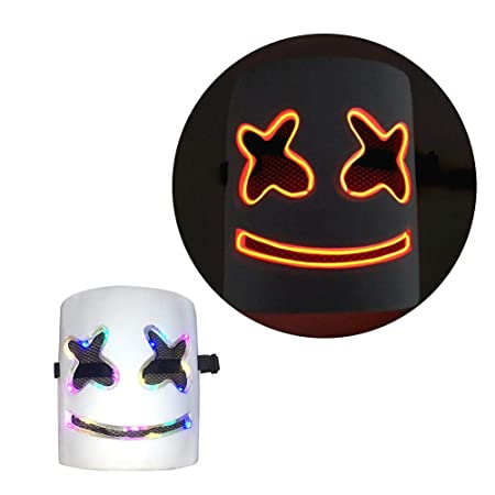 ATpart Marshmallow DJ Mask Music DIY Party Props Full Head Mask ...