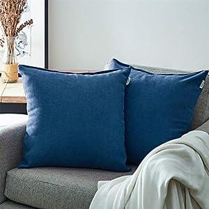 Topfinel Juego 2 Fundas Cojines Cama Sofas de Chenilla Algodón Lino Duradero Almohadas Decorativa de Color sólido para Sala de Estar sofás Camas sillas Dormitorio Jardín Coche 30x30cm Azul Oscuro
