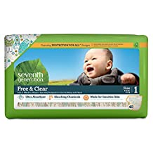 Seventh Generation Free and Clear Sensitive Skin Baby Diapers with Animal Prints, Size 1, 160 Count (Packaging may vary)