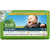 Seventh Generation Free and Clear Sensitive Skin Baby Diapers with Animal Prints, Size 1, 40 Count (Pack of 4)