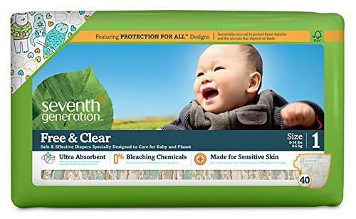 Seventh Generation Baby Diapers, Free and Clear for Sensitive Skin, with Animal Prints, Size 1, 160 Count (Pack of 4)