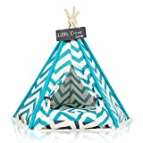 little dove Pet Teepee Dog(Puppy) & Cat Bed - Portable Pet Tents & Houses for Dog(Puppy) & Cat Blue Strip Style 24 Inch with Cushion