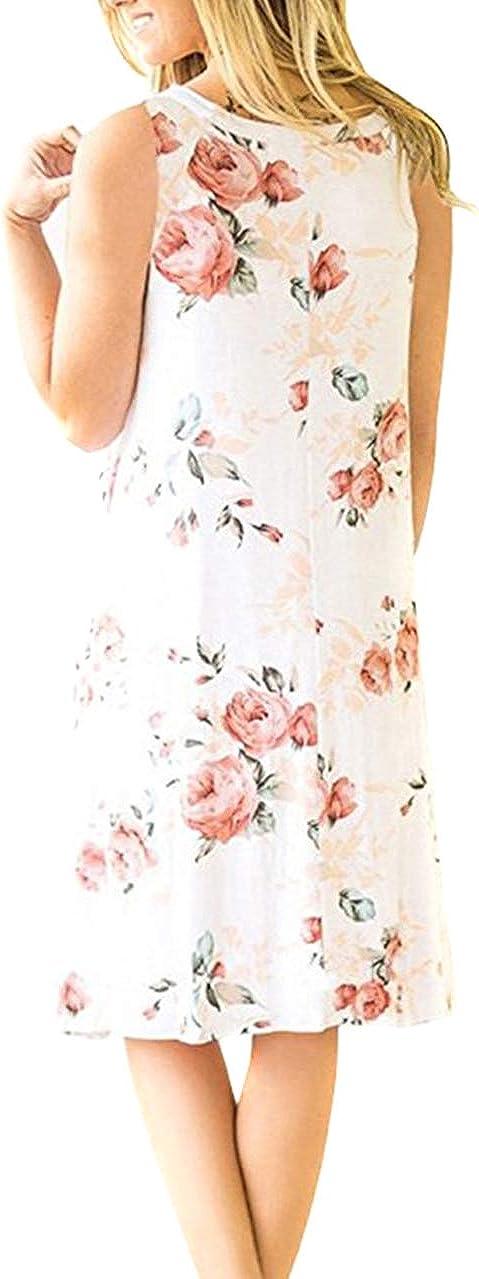 OMZIN Women Sleevesless Cotton Casual Swing Flared Tank Dress S-3XL
