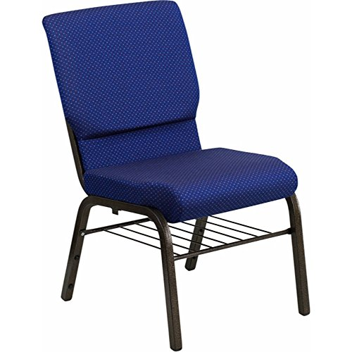 (Offex 18.5'' Wide Navy Blue Patterned Fabric Church Chair with Book Rack - Gold Vein Frame)