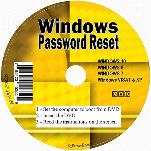 Windows Password Reset Disk Recovery Premium DVD/USB Drive for Removing Your Forgotten Windows Password on Windows 10, Windows 7, Vista, XP - Unlimited Use! for Desktop and Laptop (DVD-DISC)