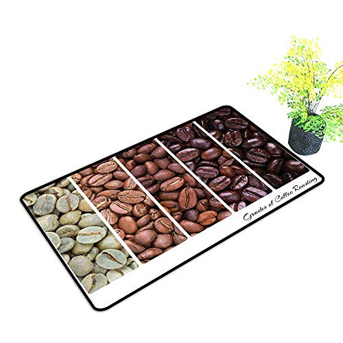 Zmstroy Thin Door mat Coffee Vertical Banner Stages of Beans from Raw to Roasted Java Processing Addictive W35 xL59 Durable Ivory Brown White
