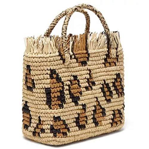 - LHKFNU Leopard Round Straw Beach Bag Vintage Handmade Woven Shoulder Bag Raffia Circle Rattan Bags Vacation Casual Bag
