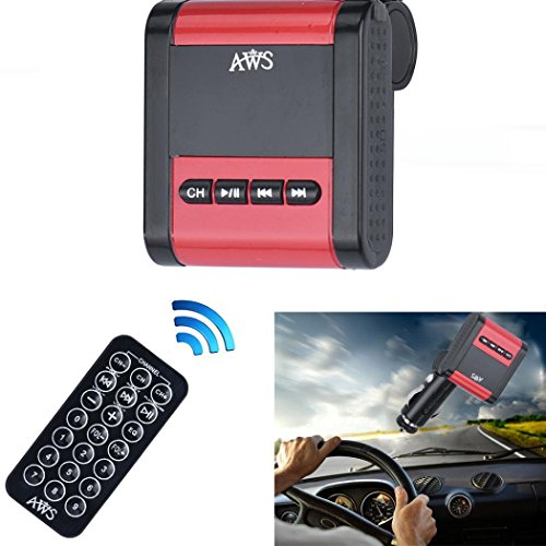 Fheaven Modulator Car Kit USB SD MMC LCD Remote AWS MP3 Player Wireless FM Transmitter (Red)