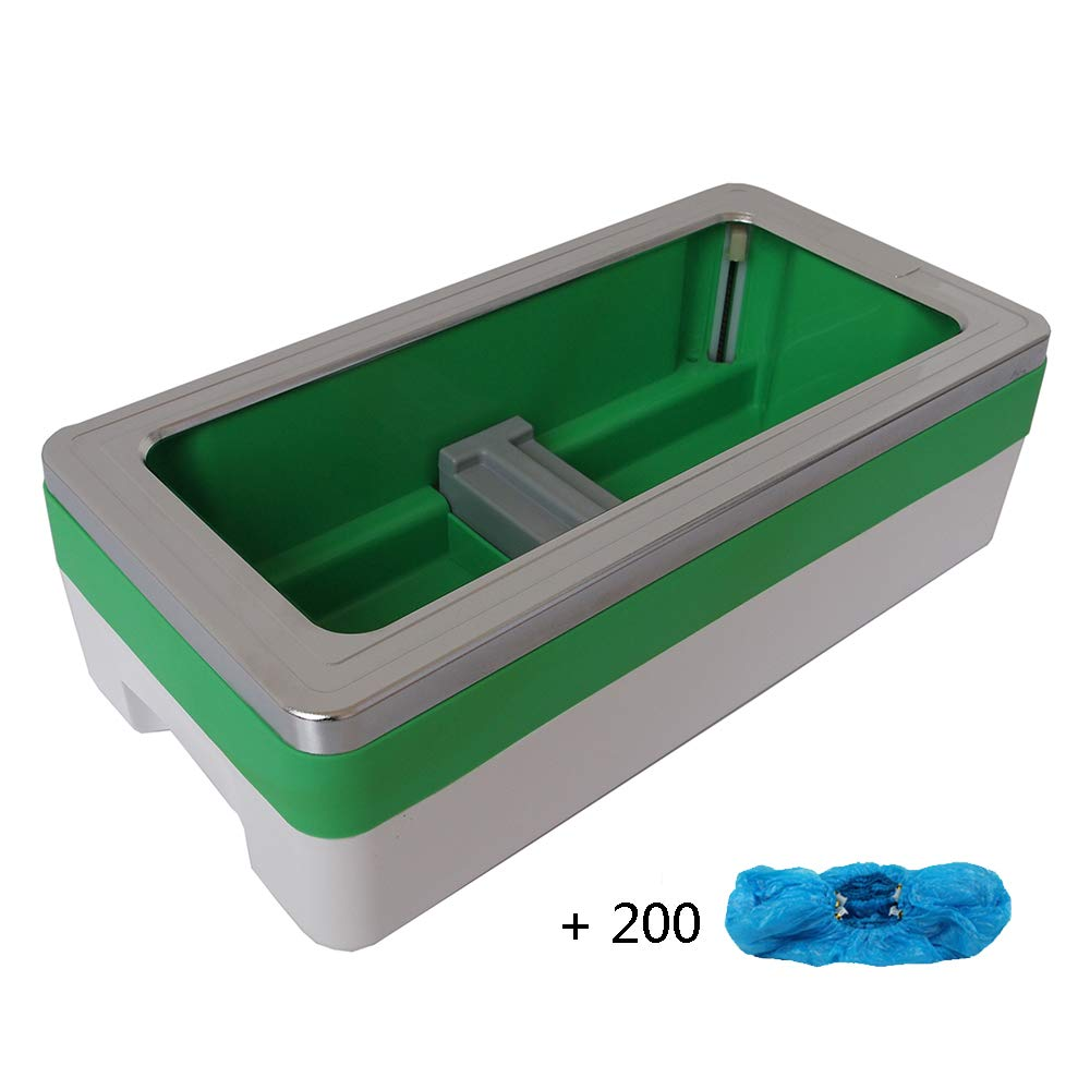Shoe Cover Machine Dispenser Automatic Home Medical Anti Slip Anti-Wear ABS Plastic Safety, 200 Disposable Plastic Shoe Covers, Unisex Disposable Forming Foot Mould (16x8x5 in),Green