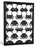 Video Games Best Deals - JP Londres fcnv2235Framed Galería Wrap Heavyweight lona Decoración de pared (Retro Space Invaders Video Game Patrón en 67cm de alto x 51,8cm ancho x 3,2cm espesa)