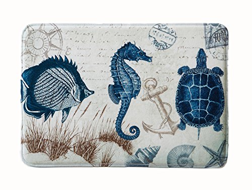 Great Bay Home Coastal Printed Memory Foam Anti-Fatigue Bath Mat. Multi-Purpose, Non-Slip, Absorbent Laundry Room, Kitchen, Bath and Shower Rug. Eliza Collection By Brand. (Sea Life, 20