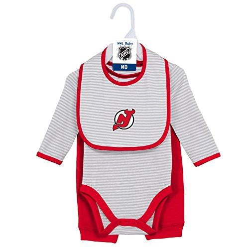 Little Devil Bib - NHL New Jersey Devils Layette Newborn Interception Onesie, Bib & Pant Set, 3-6 Months, Cool Grey