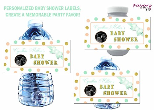 Ultrasound Baby Shower Invitations - 60 Mint Green, Peach & Gold Baby Shower Water Bottle Labels, Bubble Labels, Wine Bottle Labels 4x2 personalized with ultrasound photo- Waterproof!