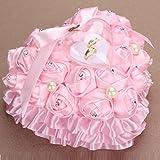 bgblgf M Romantic Rose Wedding Ring Cushion Heart Ring Pillow Jewelry Box NEW, Pink, 2525cm