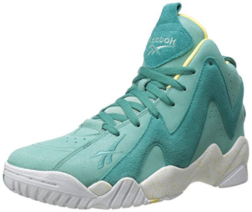 Reebok Men's Kamikaze II Mid Basketball Shoe, Jadeite/Utopic Teal/White/Electric Yellow, 10 M (Jadeite Apparel)
