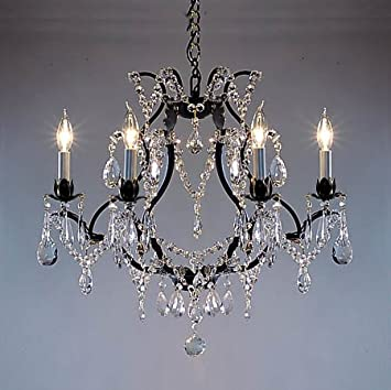 """Crystal And Iron Chandeliers: Swarovski Crystal Trimmed Chandelier! Wrought Iron Crystal Chandelier  Chandeliers H19"""" ...,Lighting"""
