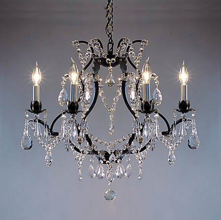 Swarovski crystal trimmed chandelier wrought iron crystal swarovski crystal trimmed chandelier wrought iron crystal chandelier chandeliers h19quot aloadofball Gallery