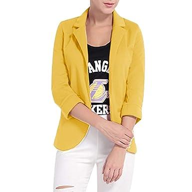 8fa06e04baab Luckycat Moda para Mujer Estilo OL Blazer de Manga Larga Elegante Traje  Delgado Escudo Casual