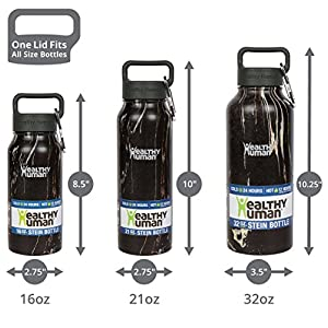 Healthy Human Water Bottle - Cold 24 Hours, Hot 12 Hours. Vacuum Insulated Stainless Steel Double Walled Thermos Flask with Carabiner & Hydro Guide - Black Onyx - 32 oz