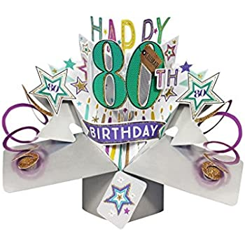 Second Nature Pop Ups Happy 80th Birthday Up Card