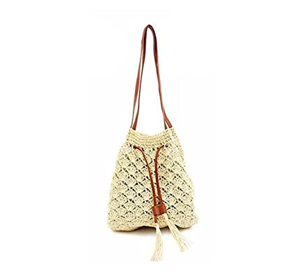 156dcee719 Amily Weave Summer Beach Bucket Bag Handmade Crochet Shoulder Bag Fringe  Bohemian Purse Pouch Beige