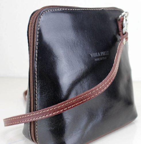 echtem Schwarz hergestellt aus und Italien Exotic Braun Damenumhängetasche Leder Glitter in SqwnftRA7