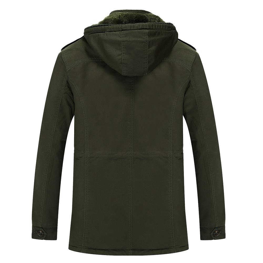 Allywit Mens M-6XL Military Style Thicken Hooded Jacket Fleece Warm Big Tall