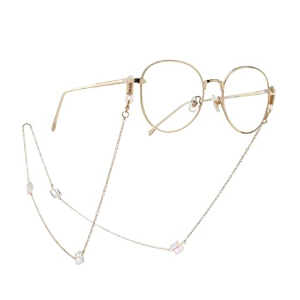 Bangxiu Fashion Square Crystal Ornaments Gafas Cadena de ...