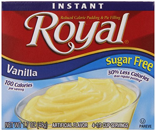 Royal Instant Pudding Dessert Mix, Chocolate, Fat Free and Sugar Free (12-1.7 oz Boxes) (Sugar Free Vanilla Cake)