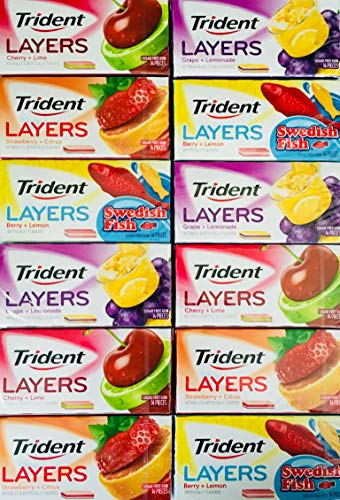 Trident Layers Sugar Free Gum Variety 3 Packs of Each Flavor Grape/Lemonade Strawberry/Citrus Cherry/Lime and Swedish Fish (Total 12 Packs)