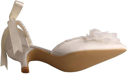 61fc49078c35b MW448 Womens Pointed Toe Flower Low Heel Pearl Strap Bridal Shoes Wedding