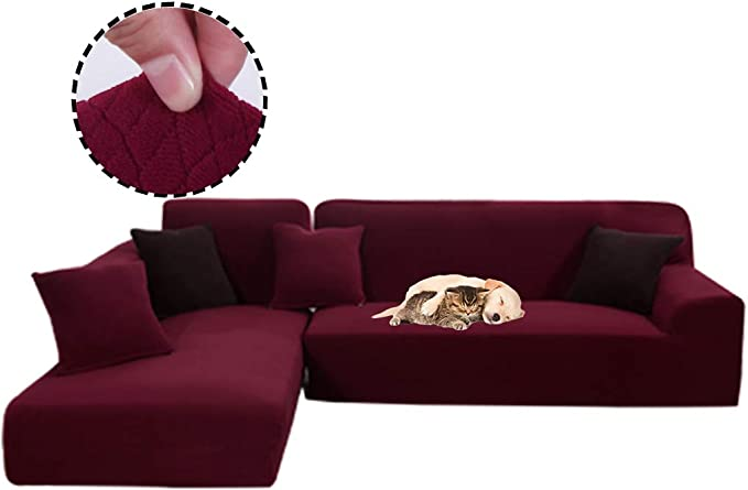 Obokidly Anti-Leakage Jacquard Sectional Corner L-Shaped Sofa Covers;Anti-Wrinkle Chaise 3 Cushion Couch Leather Sofa Silpcovers Living Room;Dustproof Furniture Protectors (Wine Red, L-Shaped)